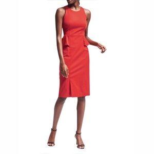 BANANA REPUBLIC Red Peplum Sheath Dress 6 NWT